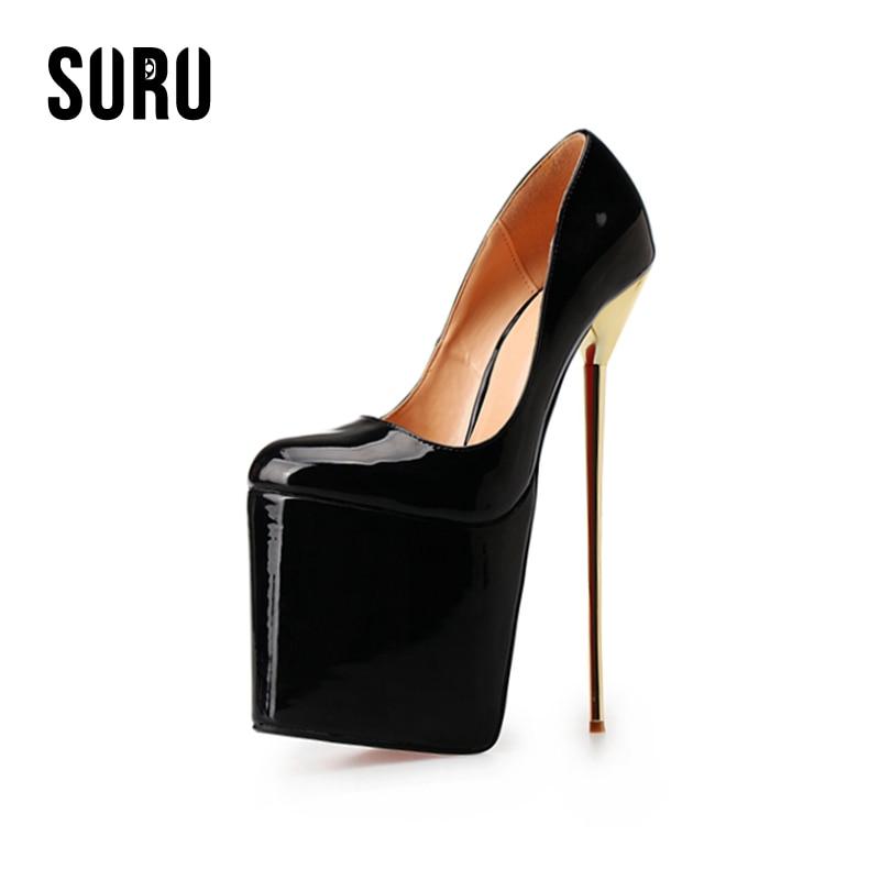 SURU Super Big Size 40 41 42 43 44 45-50 Platform High Heels Pumps 22cm Metal Stilettos Designer Shoes US 11 12 13 14 A6 цены онлайн