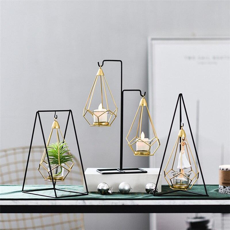 2019 Mode Metalen Lantaarn Goud Nordic Metal Hollow Smeedijzeren Kaars Decoraties Geometrische Moderne Leuchtturm Wijn Kast Thuis Decor 5zx080 Fijn Verwerkt