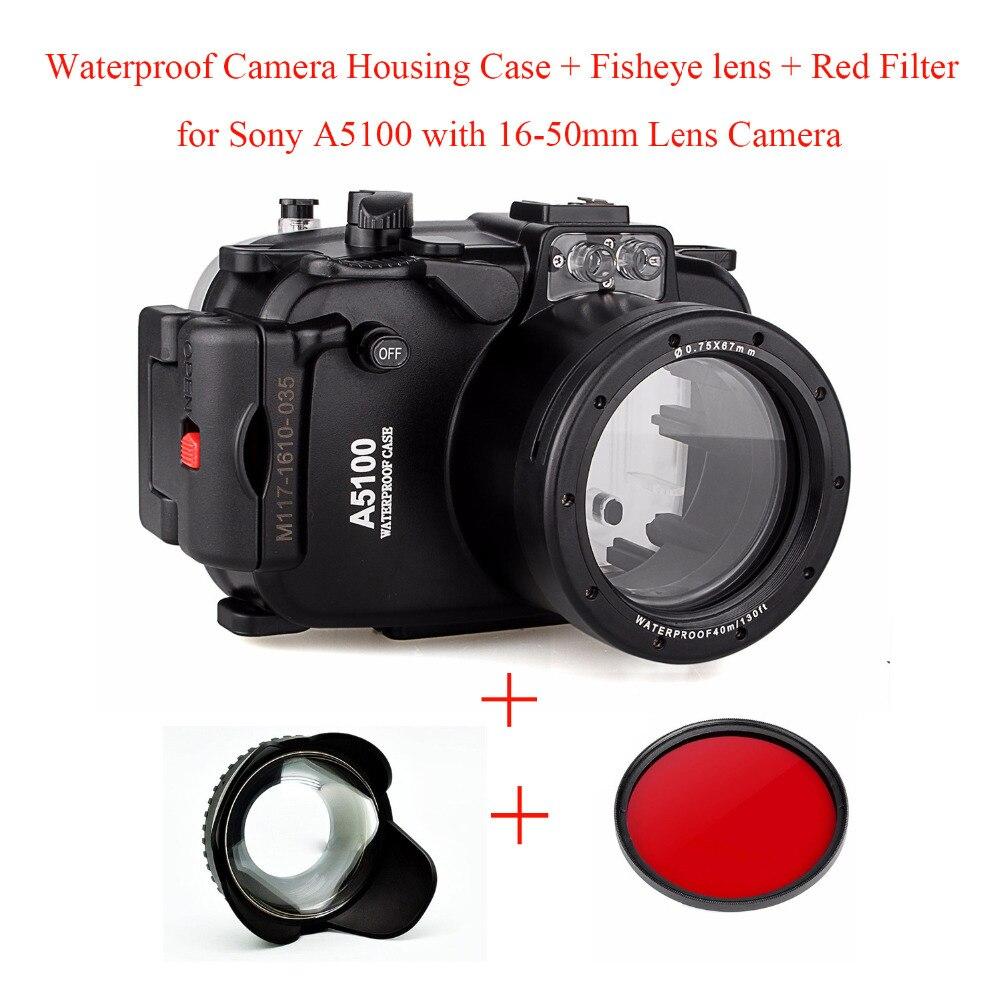все цены на Meikon 40M/130ft Waterproof Camera Housing Case for Sony A5100 16-50mm,Underwater Camera Bags Case + Fisheye lens + Red Filter