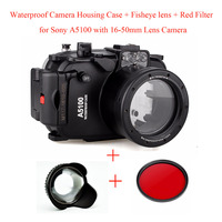 Meikon 40M/130ft Waterproof Camera Housing Case for Sony A5100 16 50mm,Underwater Camera Bags Case + Fisheye lens + Red Filter