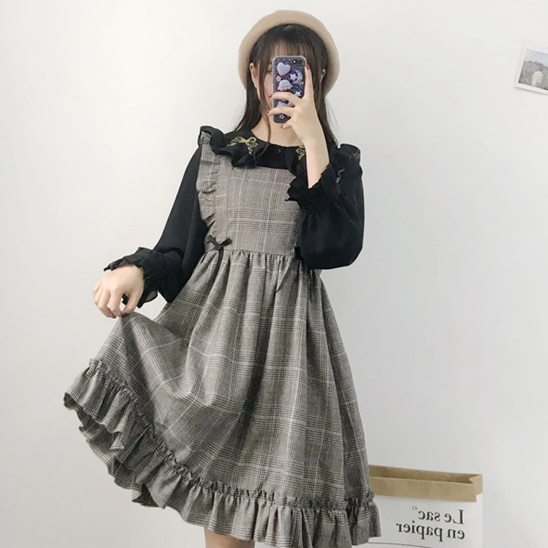 2018 Autumn New Lolita retro plaid fungus high waist Harajuku sweet women vest sleeveless wild kawaii vadim Pleated dress