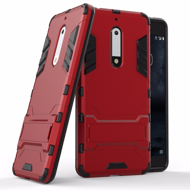 For Nokia 5 Case Cover Robot Armor Rugged Rubber Slim Hard Pc Soft Silicone Back