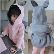 Infant Clothing Hooded Jackets for Girls Cute Animal Rabbit Air Layer Design Win
