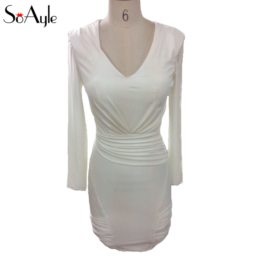 SoAyle V-Neck Long Sleeves Cocktail Dresses 2018 Stretch Ivory Mother Guest Dresses Plus Size Mini Short Women's Party Dresses