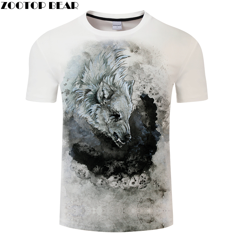 Print tshirt 3D Wolf T-shirt Men t shirt Summer Tee Short Sleeve Top Male Harajuku Camiseta Short Sleeve New Dropship ZOOTOPBEAR