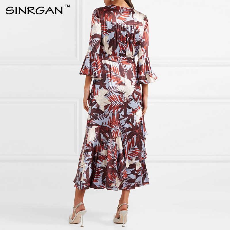 SINRGAN Женщины  2019 мода весна лето винтажное платье с бабочкой с о-образным вырезом Нерегулярные лоскутные платья середины икры