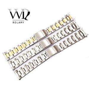 Image 1 - Rolamy 19 20 مللي متر أعلى درجة فضي ناعم 316L الصلبة الفولاذ المقاوم للصدأ حزام (استيك) ساعة حزام حزام أساور من المحار
