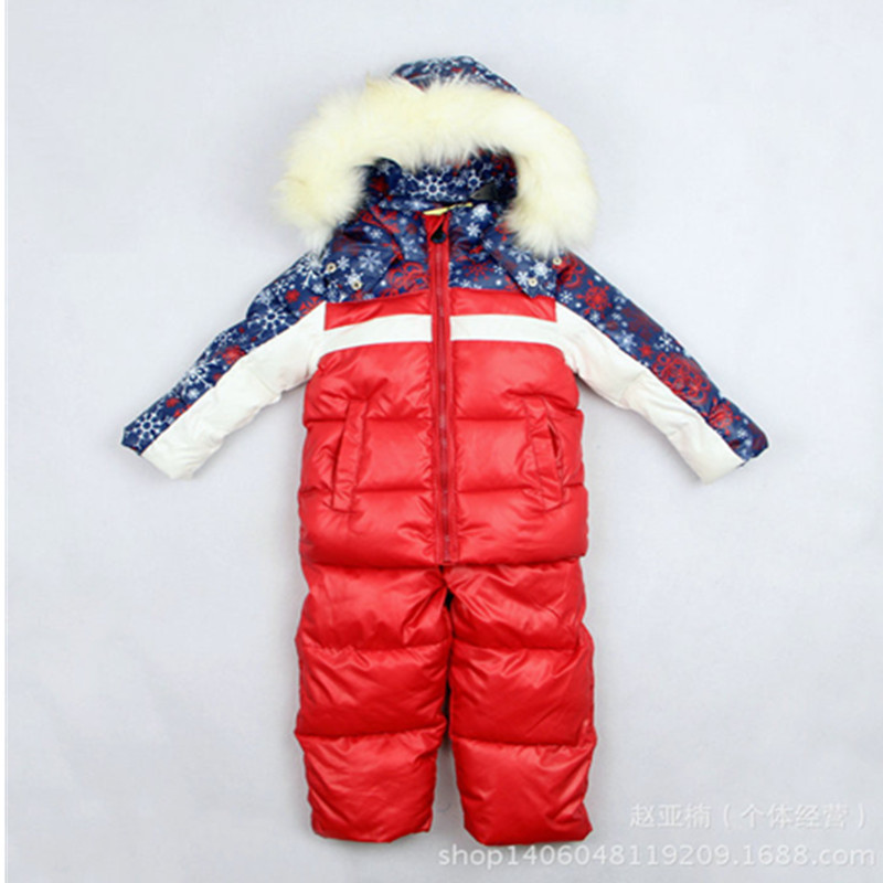 New 2018 Children's Winter Clothing Set Boy Girl baby kids Ski Suit Windproof Warm Coats Fur Jackets+Bib Pants child ski set 2016 winter boys ski suit set children s snowsuit for baby girl snow overalls ntural fur down jackets trousers clothing sets