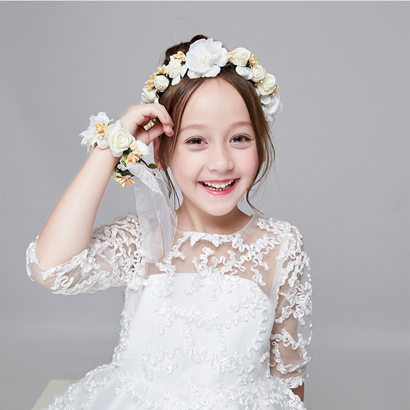 Bridal Wreath Pearl Headdress Seaside Flower Wedding Dress Accessories Flower Children's Hair Band(China)