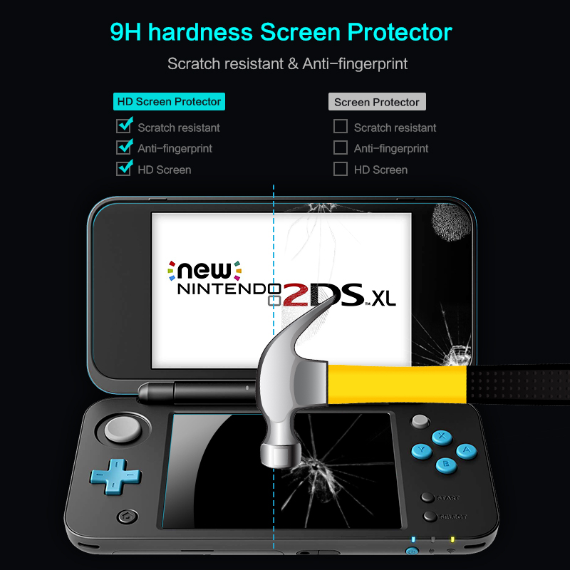 Image 2 - DATA FROG 2 Pcs Tempered Glass Screen Protector For Nintend New 2DS XL/LL Premium Full Cover Screen Protector Film-in Screen Protectors from Consumer Electronics