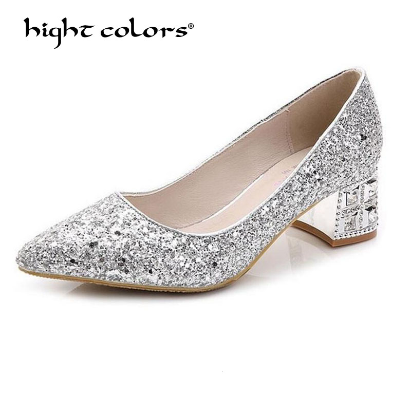 hight colors Brand Fashion Gold Sliver Bling Shoes Woman Pointed Toe Women Pumps Wedding Shoes Slip-on Square Med heels JBL321