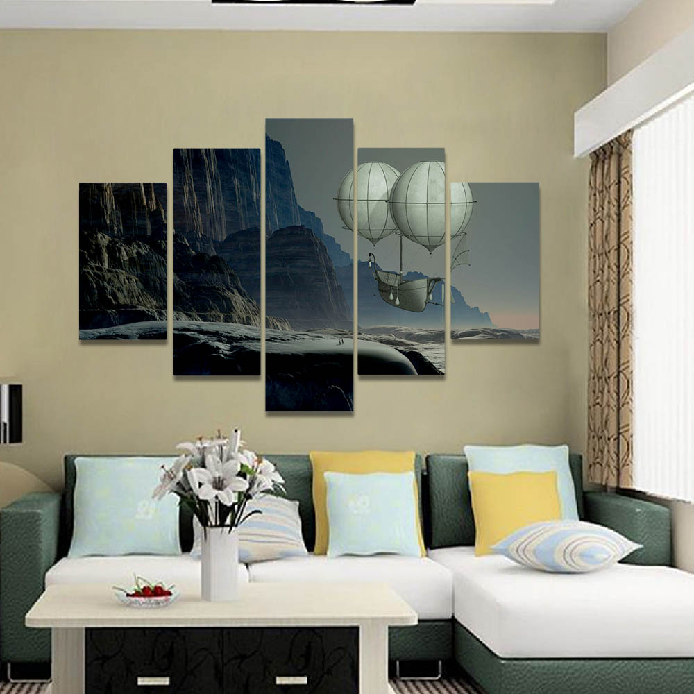 Unframed Canvas Oil Painting Cliff River Balloon Flying Ship People Prints Wall Pictures For Living Room Wall Art Decoration