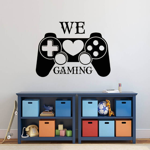 . Vinyl Gamer Controller Wall Decal We Love Gaming Quote Wall Sticker Teen  Boys Room Decor Removable Video Game Wall Mural AY1383