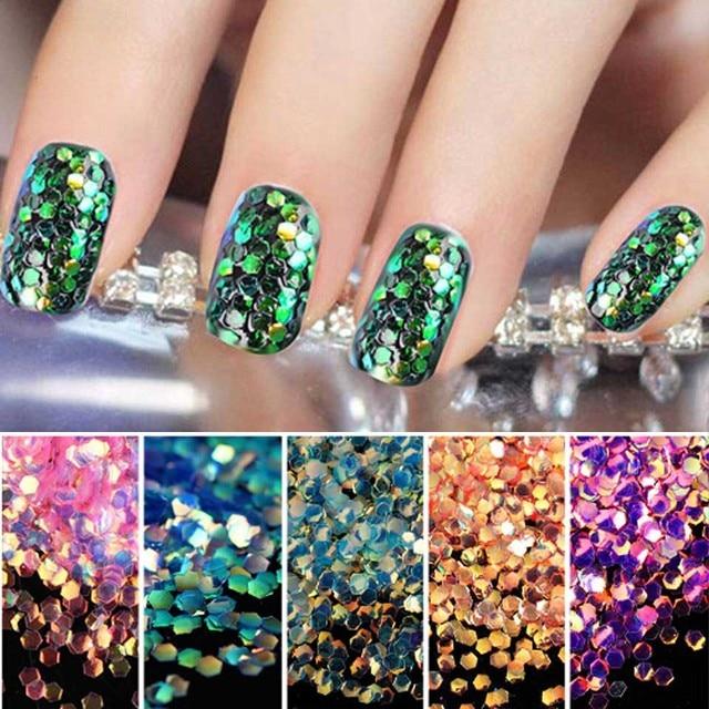 Destellos de Uñas Glitter Lentejuelas Sirena Oropel De Energía ...