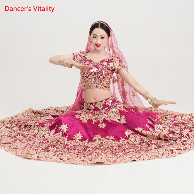 Роскошный костюм для танца живота с вышивкой для индийских танцев, сцена для выступлений практичные Топы + широкая юбка + вуаль, комплект из 3