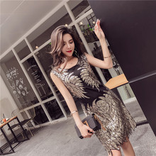 MUXU patchwork gold sequin dress vestidos sexy jurken women clothing elbise jurk glitter summer bodycon woman clothes 2018