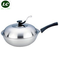 WOK PAN 32CM COOKING POT NO COATING NON STICK KITCHEN UTENSIL WITH STAND COVER