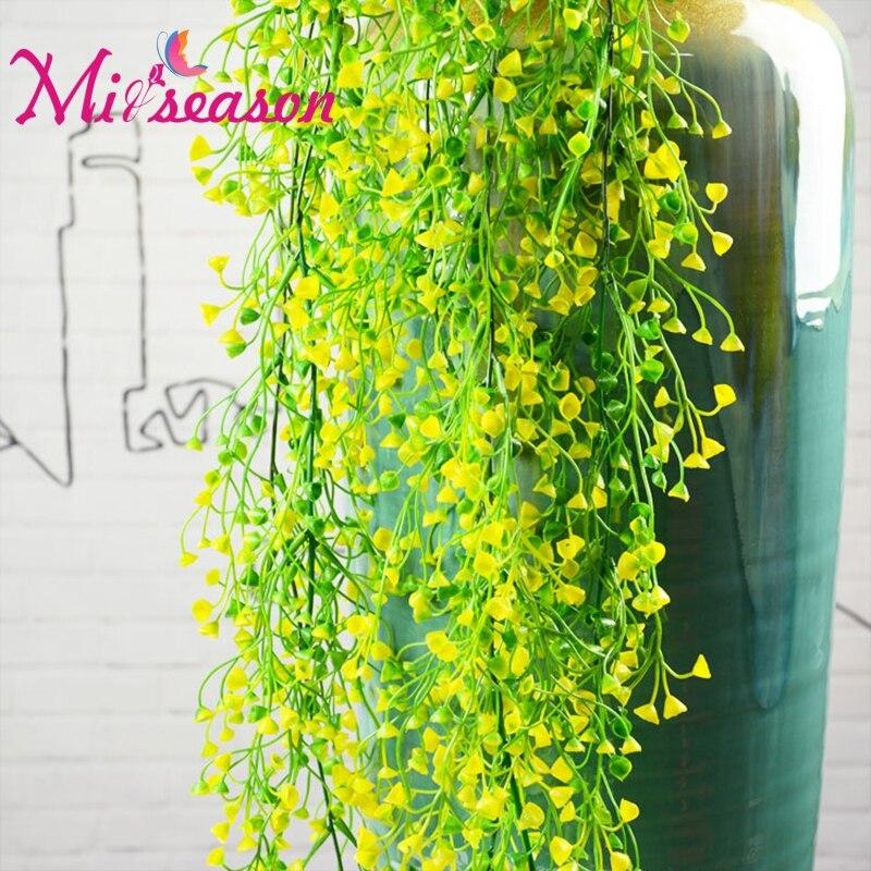 Artificial Grass Rattan Green Fake Leaves Flower Vine Wind Bells Succulents Hanging Plant Wall Garden Decor Plants 3 colors