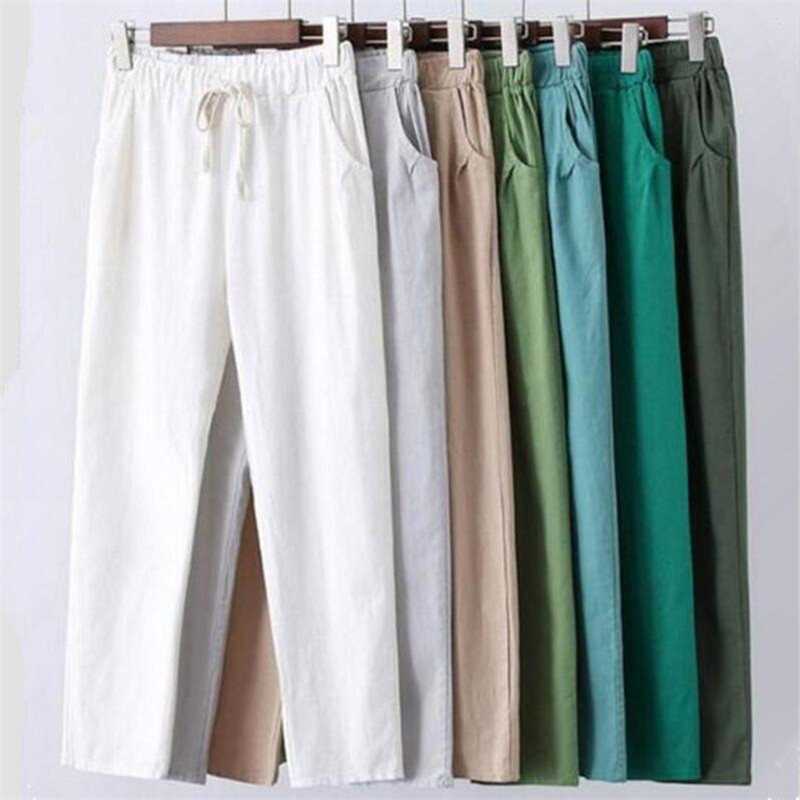 New Summer Women Ankle-Length Pants 2019 Plus Size M-7XL Cotton Linen Vintage Trousers Casual Solid Drawstring Pencil Pants