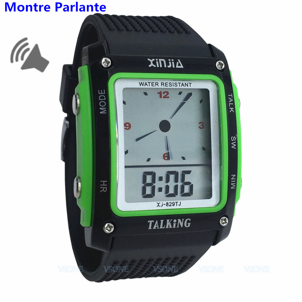 Black/Green French Talking Watch For The Blind And Elderly With LED Display 829TF-G