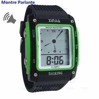 Preto/Verde Francês Falando Relógio para Cegos e Idosos com Display LED 829TF-G