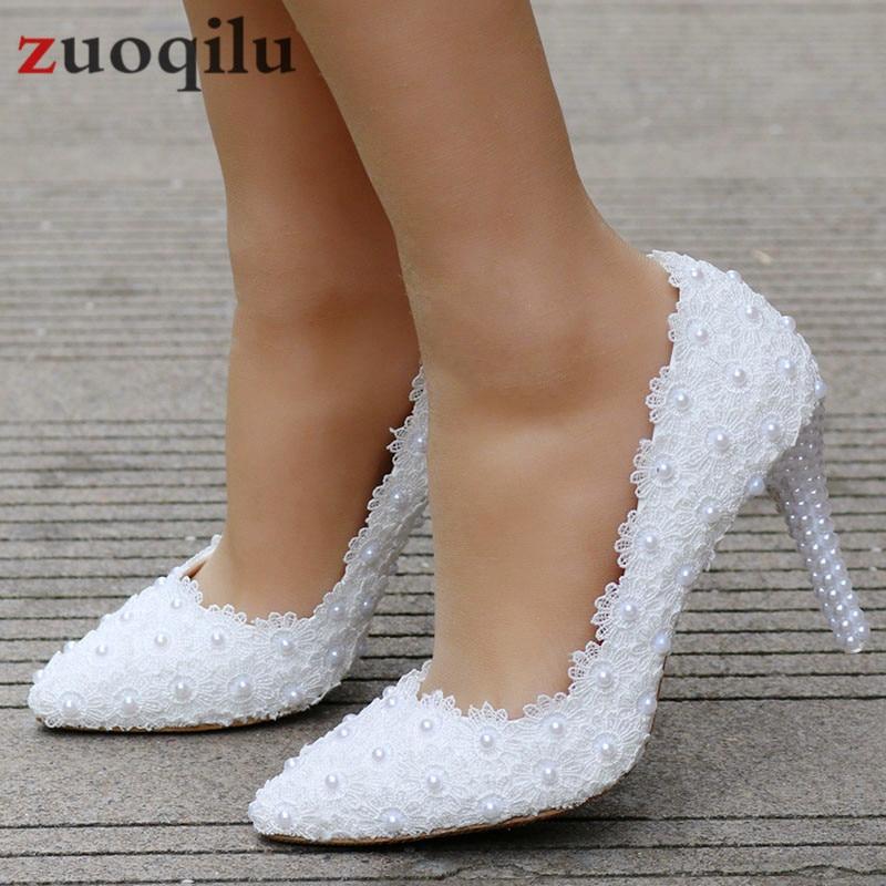 White Heels Lace Bride Shoes Wedding Shoes Women Pumps Ladies Heels 5CM Bridal Shoes Zapatos De Novia Big Size 34-41