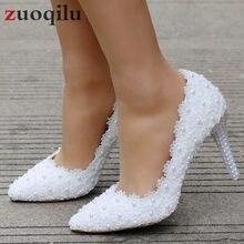 b7bb1499e Laço branco De Salto Alto Sapatos de Casamento Sapatas Do Partido Das  Mulheres Bombas Senhoras de Salto Alto sapatos de Noiva Sa.
