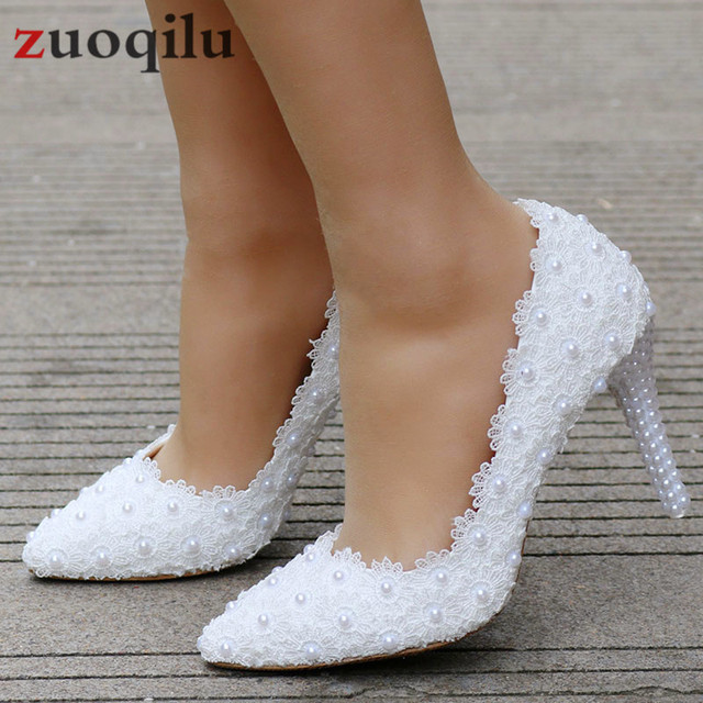 White Lace High Heels Wedding Shoes bride Party Shoes Women Pumps Ladies High Heels Bridal Shoes big size 34-41