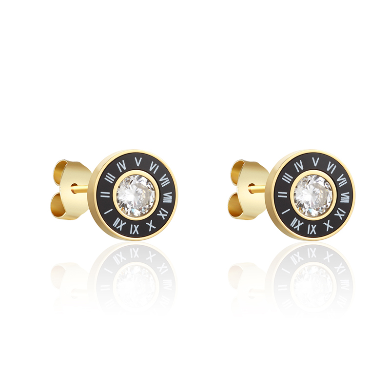 New Arrival Beautiful Periferia Black Enamel And White Shells Roman Numerals Middle Shiny Crystal Earrings For Women And Men