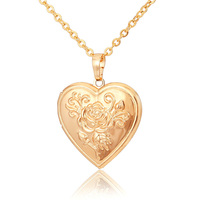 Vintage Rose Flower Floating Locket Heart Photoes Pendants Charms 18K Gold Plated Choker Necklace Jewelry Jewellery