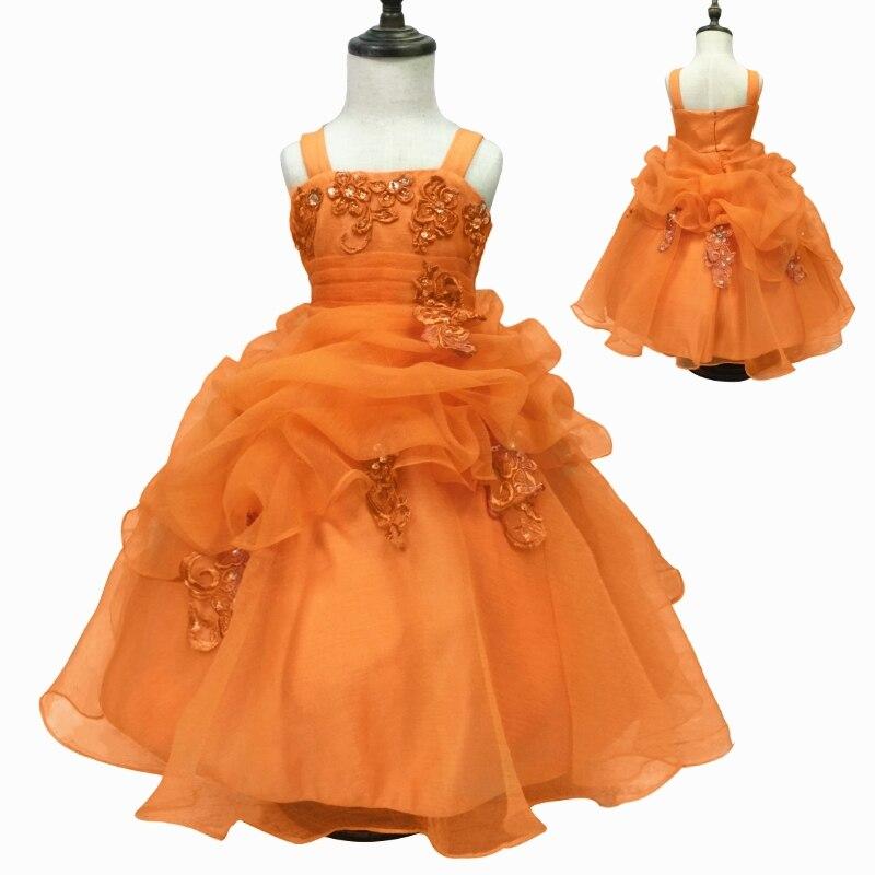 27412bc15b7f Trasporto Libero 2-10 Anni I Bambini Del Vestito Da Partito 2019 Nuovo  Arrivo Arancione