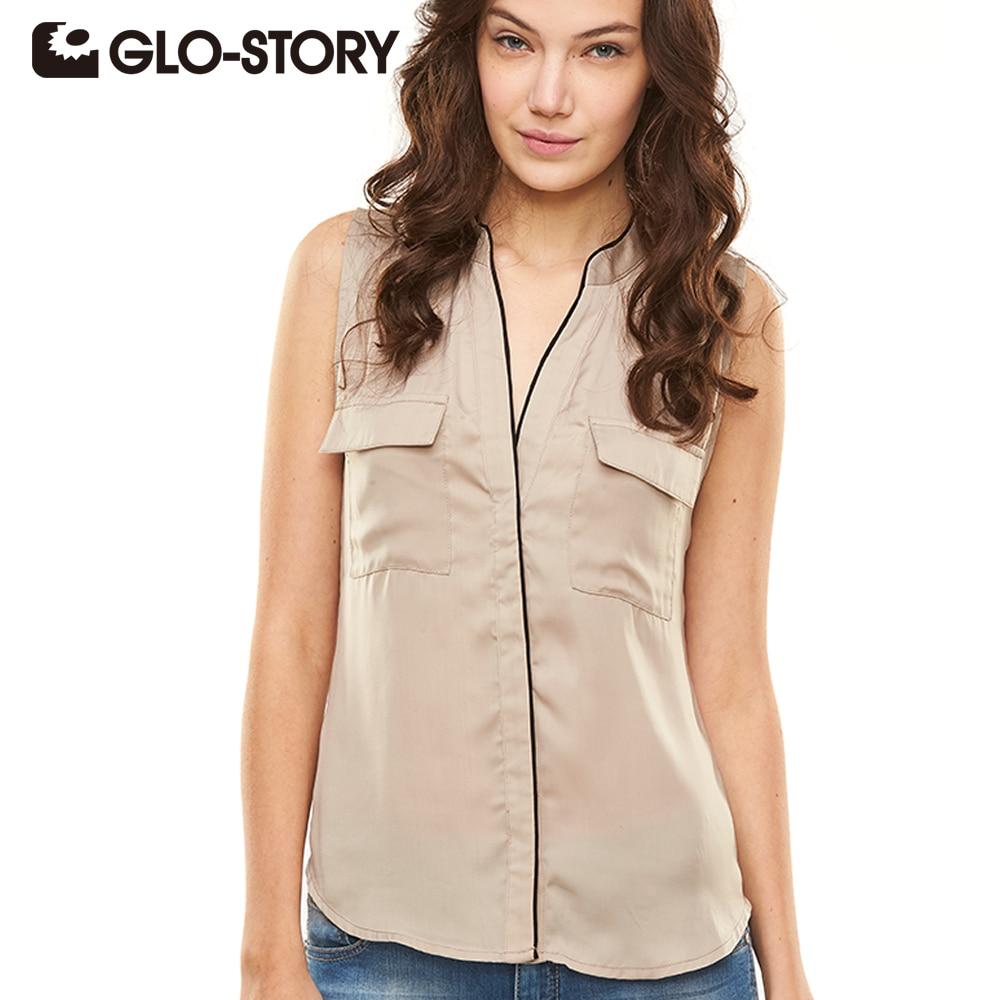 GLO-STORY 2018 Fashion Summer Women Blouses Tops Solid Sleeveless Chiffon Blouse Women Blusas Casual Female Clothing WCS-1232