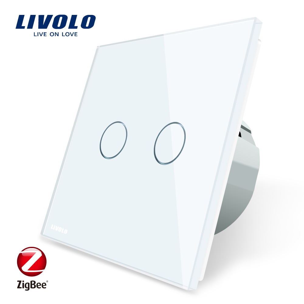 Livolo APP Touch Control Wall Light Zigbee Switch, WiFi Home Automation Smart Remote Control, Works with Echo, C702Z-1/2/3/5 sonoff t1 us smart touch wall switch 1 2 3 gang wifi 315 rf app remote smart home works with amazon free ios and app ewelink