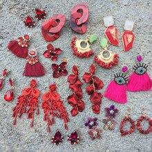 Bestessy Red Earrings for Women Long Tassel Fringed Drop Girl Handmade Beads Ins Statement Jewelry