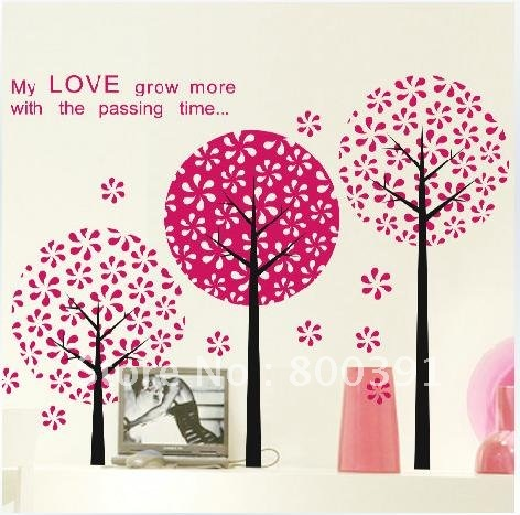 free shipping removable hd pink lover tree room wall decor decal