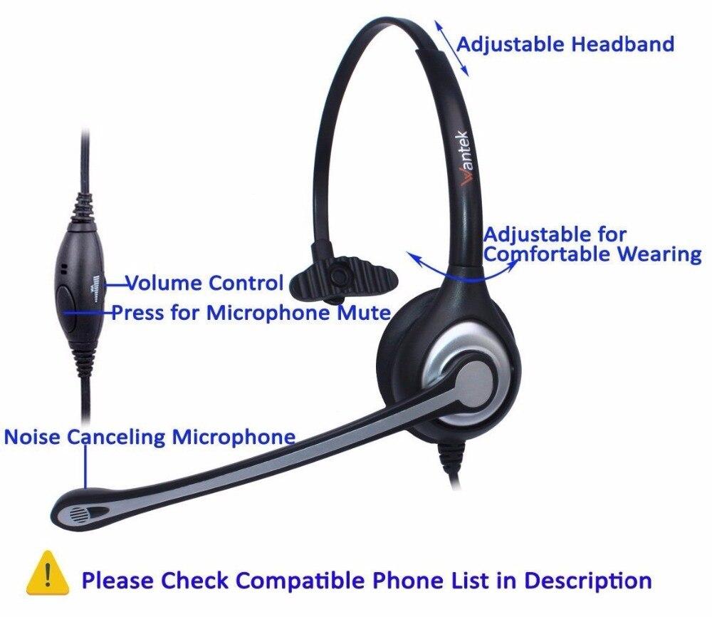 Wantek Corded Telephone Headset Mono w/Noise Canceling Mic