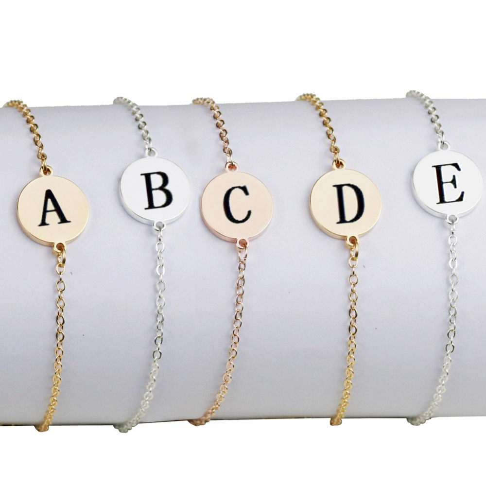 Us 1 61 40 Off Tiny Initial Letter Bracelet Gold Personalized Dainty Name Charm Women Minimal Jewelry Party Gift Pulseras Mujer In Chain