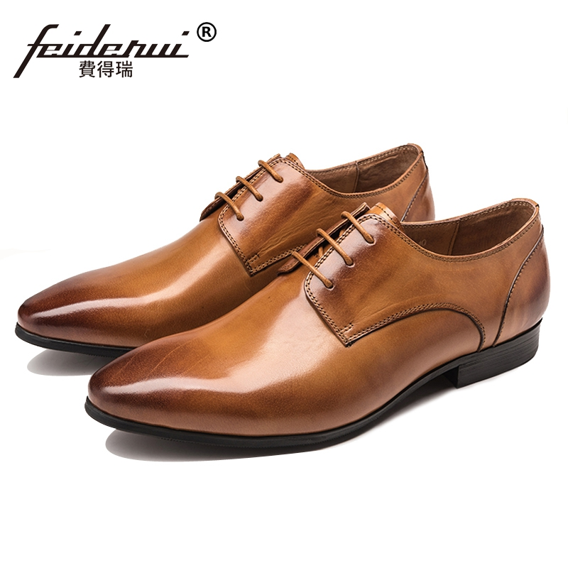 Fashion Italian Designer Man Handmade Formal Dress Party Shoes Genuine Leather Pointed Toe Men's Wedding Derby Footwear JS34 new italian designer men s wedding party footwear genuine leather pointed toe lace up derby man luxury formal dress shoes ymx504