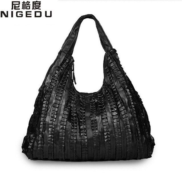 De piel de oveja Hombro bolso grande bolso de las señoras de empalme de Las Mujeres Hobos del bolso de cuero Genuino negro Bolsos de Las Mujeres Totes bolsas de mensajero