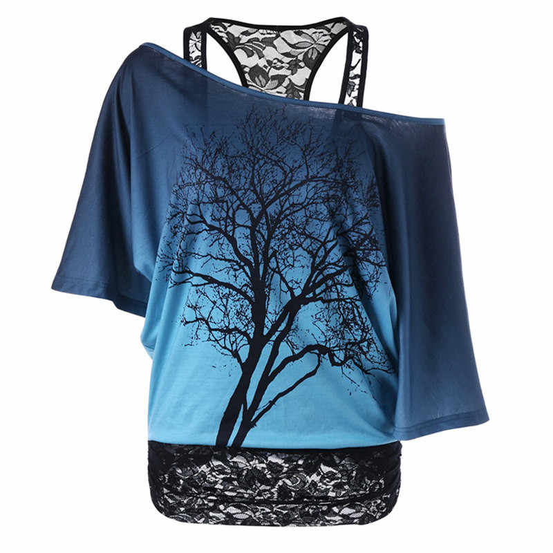 Losse Causale Boom Gedrukt Korte Onregelmatige Mouwen Shirt Lace Off Shoulder vrouwen Top