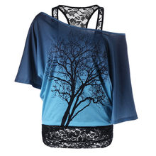 Loose Causal Tree Printed Short Irregular Sleeved Shirt Lace Off Shoulder Women's Top(China)