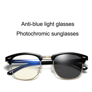 Image 4 - 푸른 빛 차단 안경 컴퓨터 읽기 Photochromic 선글라스 카멜레온 태양 남성 여성 Semi Rimless