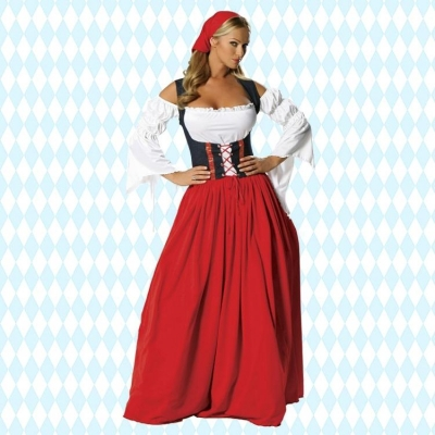 Free Shipping   New German Oktoberfest Fancy Dress Adult Beer Maid Wench Fantasy Halloween Costume For Women plus size s-6xl