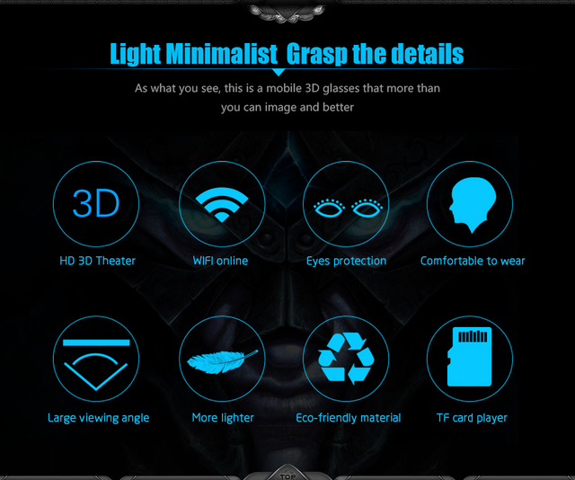 VR Box 3.0 Pro Glasses 46 for PC HMD-518 3D Private Mobile Cinema Theater 80 Inch 640*360 8G ROM High Resolution Double Lens 5