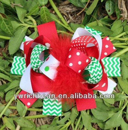 chevron top ribbon children hair accessory fashion hair clips free shipping christmas hair bows