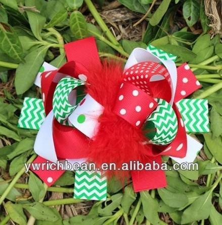 chevron top ribbon children hair accessory fashion hair clips free shipping christmas hair bows