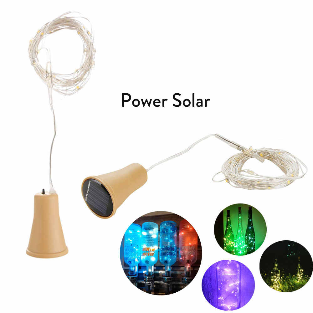 Guirnalda de luces de Botella de vino Solar 10LED, 15LED, 20LED, guirnalda de luces solares de corcho, guirnalda de cable de cobre ligero para Navidad