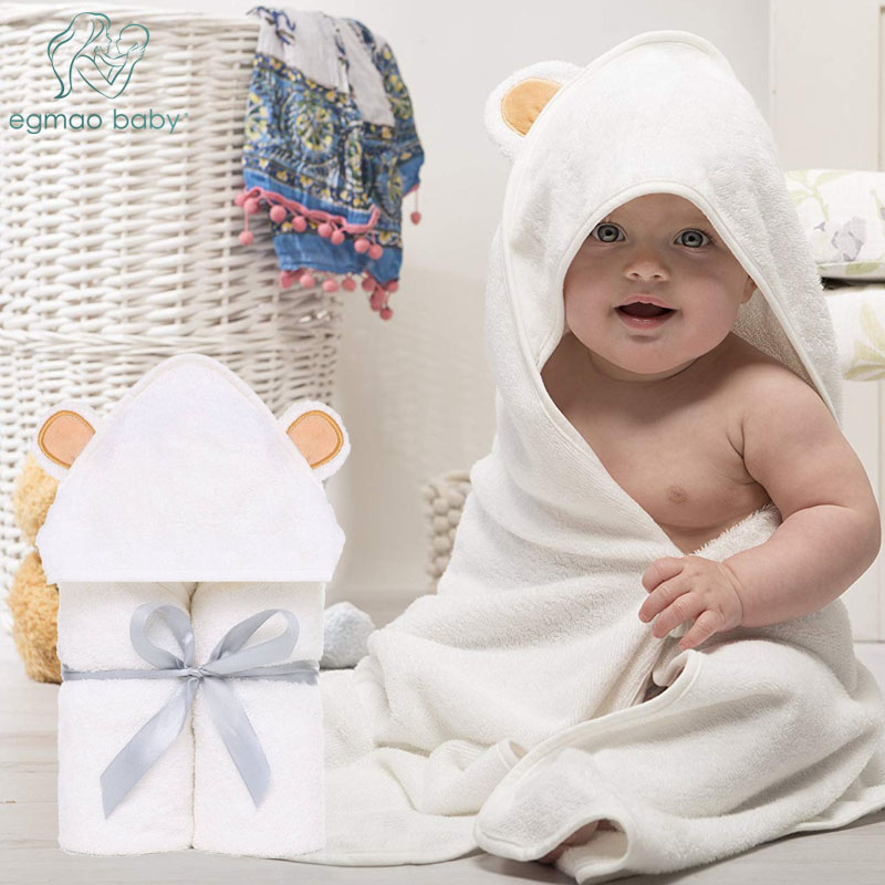 Organic Soft Hooded Bath Towels Premium Hooded Baby Towel and Washcloth Set