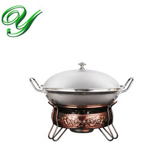 Koper komfoor rvs hotpot set houder vloeibare alcohol kachel heater mini non-stick wok fornuis buffet server warmer(China)