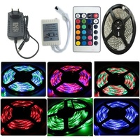 LED Strip lights 5M SMD 3528 RGB Lamp lights 12V with IR Remote Controller and Power Supply for Party Kitchen Bedroom Decoration